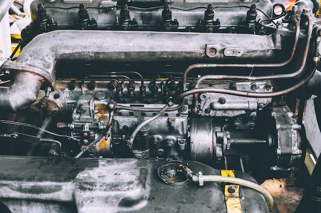 Car engine, remove and assemble the engine, repair concept. Premium Photo