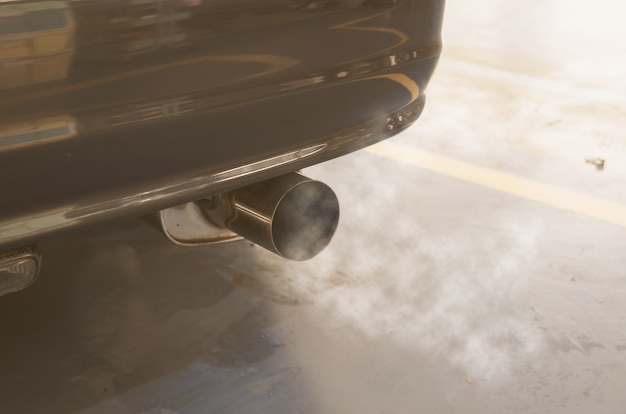 Car exhaust smoke Premium Photo