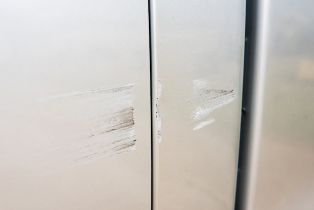 Car have scratched with deep damage to the paint,car accident on the road. Premium Photo