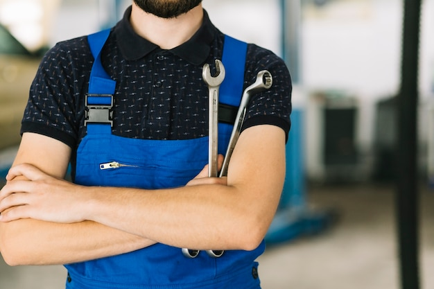 Car mechanic with spanners Free Photo