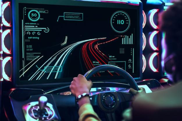 Car racing video game at an arcade Free Photo