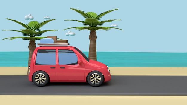 Car on road beach blue sea coconut-palm trees cartoon style 3d render vacation travel summer concept Premium Photo