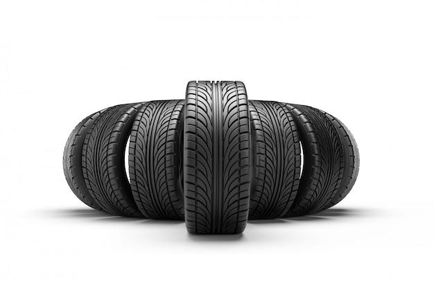 흰 벽에 고립 된 행에서 자동차 타이어입니다. 3d 렌더링 그림. 프리미엄 사진