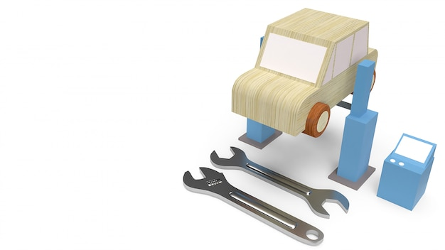 Car wood toy for car service Premium Photo