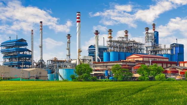 Carbon black, coal power plant factory with chimney. Premium Photo