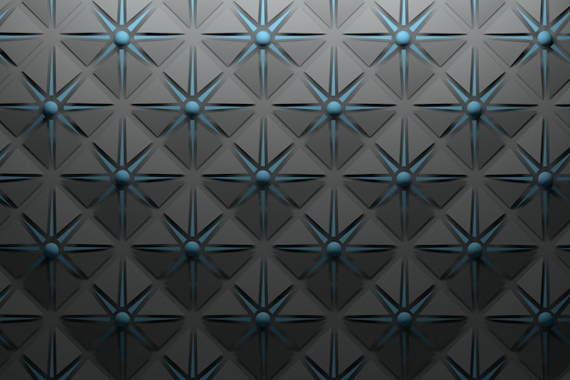 Carbon black grey pattern with repeating pyramidal shapes and dark blue star and spheres Premium Photo