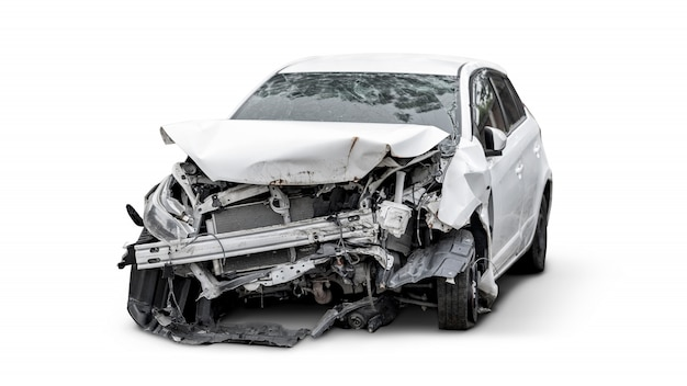 Carcass of crashed car, car insurance Premium Photo