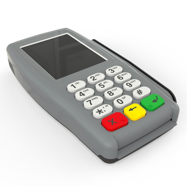 Card payment terminal pos terminal isolated on white Premium Photo