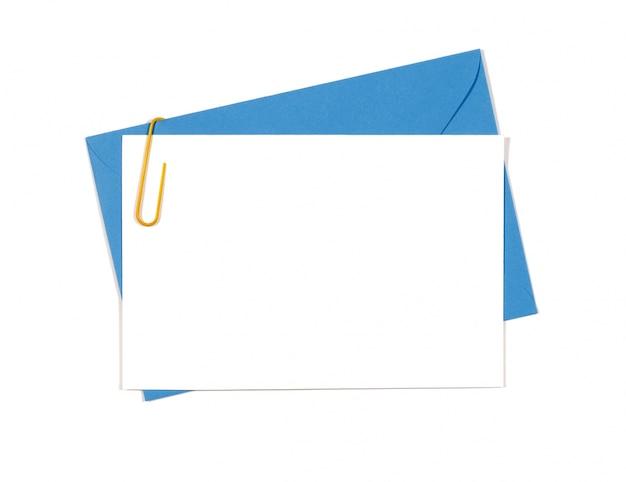 파란 봉투와 카드 무료 사진