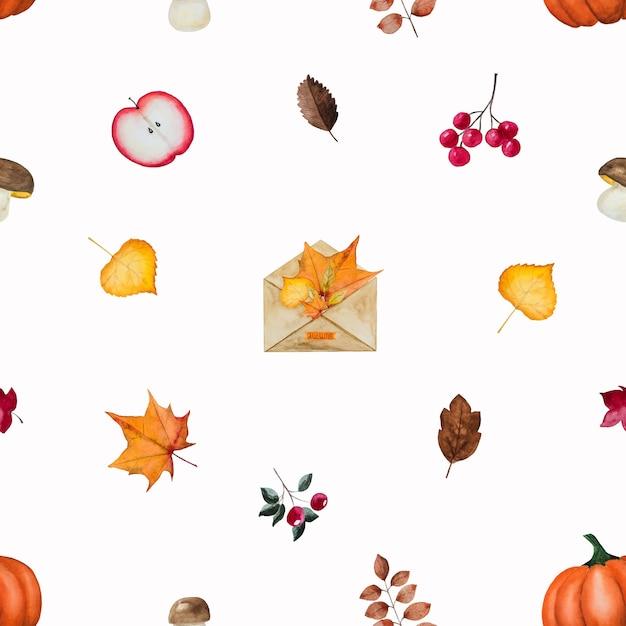秋をテーマにしたさまざまな絵が描かれたカード Premium写真