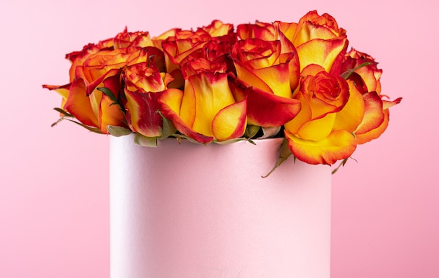 Cardboard Box With Roses Premium Photo
