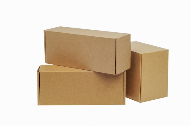 Cardboard boxes for goods. different size. isolated Premium Photo