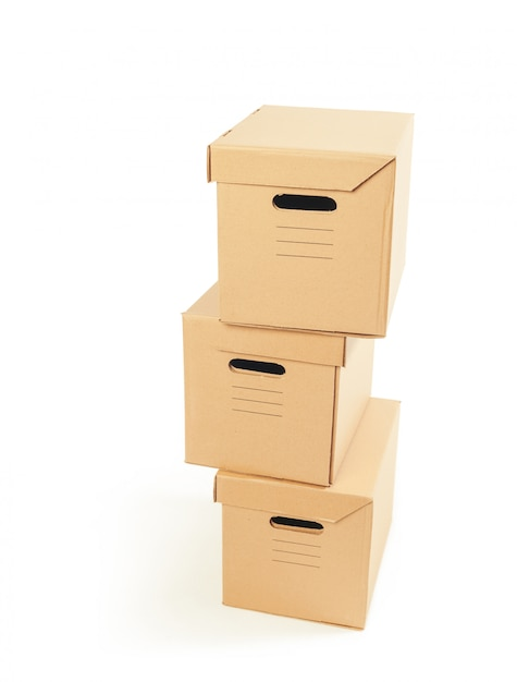 Cardboard boxes isolated over white background Premium Photo