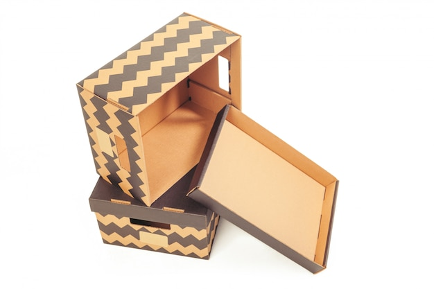 Cardboard boxes isolated over white Premium Photo