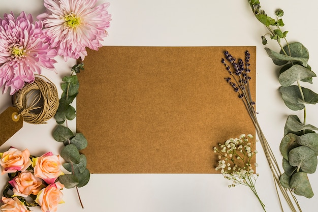 Cardboard sheet and flowers Free Photo