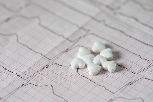 Cardiology. macro of ecg graph and cardio pills. pills as a heart Premium Photo