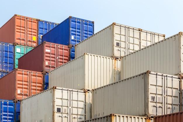 Cargo containers stack Premium Photo