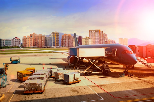 Cargo plane loading for logistic and transport business Premium Photo