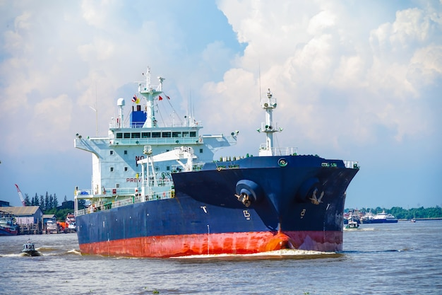 Cargo ship at river of thailand in asia, logistics
