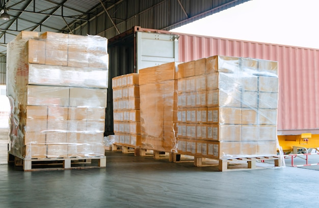 Cargo shipment for loading into a truck at distribution warehouse Premium Photo