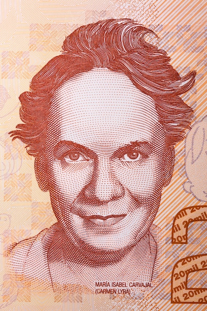 Carmen lyra portrait from costa rican banknote Premium Photo