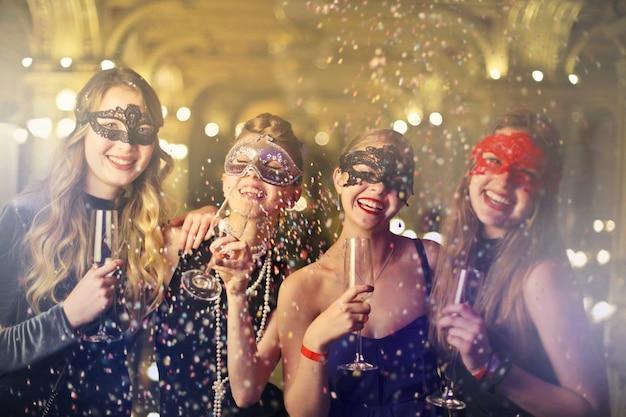 Carneval festival with friends Premium Photo