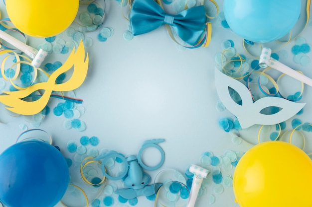 Carnival cute masks and balloons copy space Free Photo