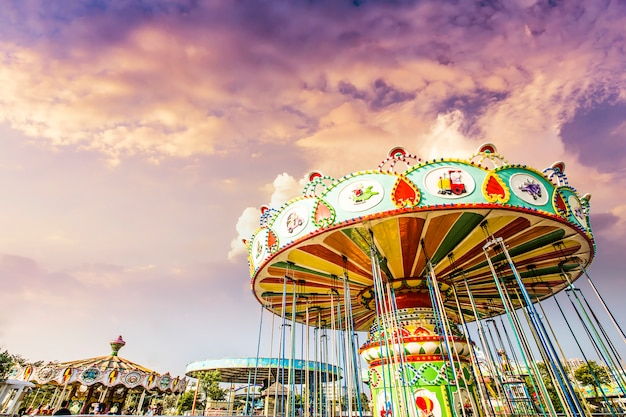 Carousel. horses on a carnival merry go round. Free Photo
