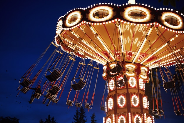 Carousel merry-go-round in amusement park at night city Premium Photo