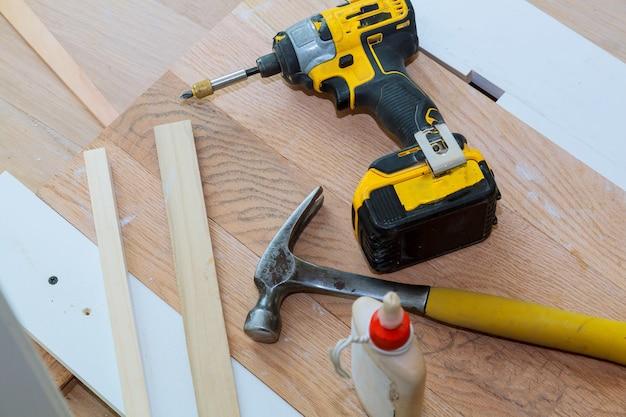 Carpenter tools on wood Premium Photo