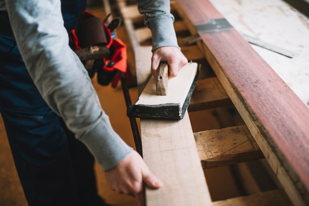 Carpentry concept with man Free Photo