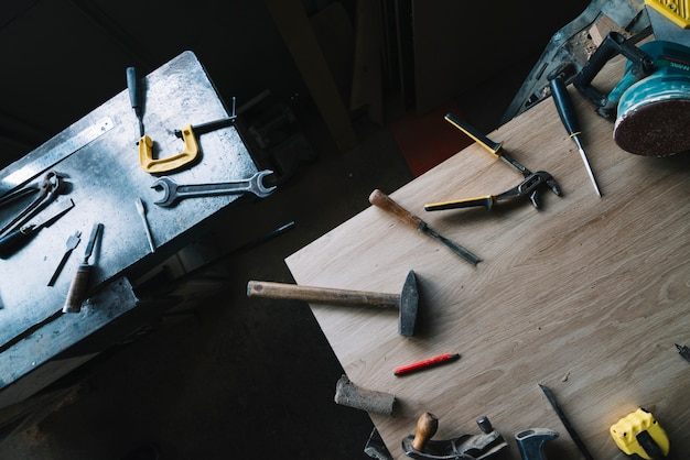 Carpentry concept with tools Free Photo