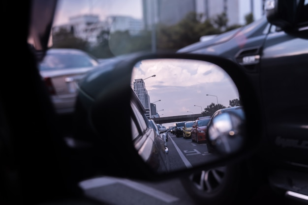 Cars on busy road in the city with traffic jam Premium Photo