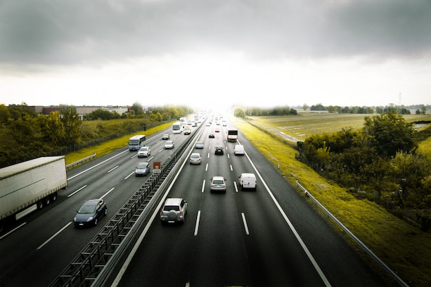 Cars traveling on the highway Premium Photo