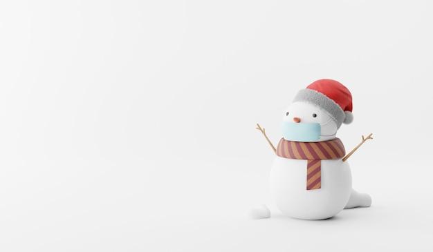Cartoon 3d render of snowman on background. Premium Photo