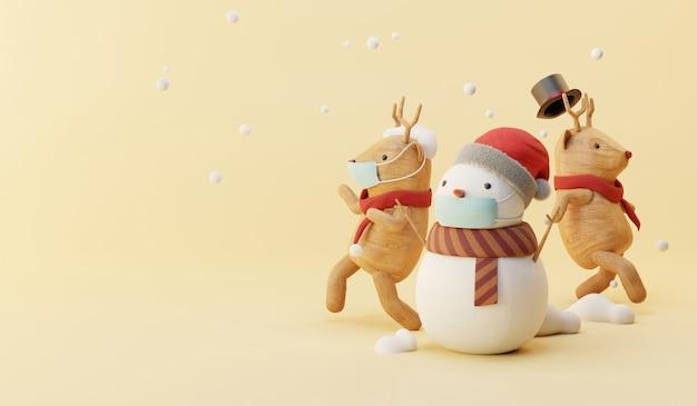 Cartoon 3d render of snowman and reindeer party. Premium Photo