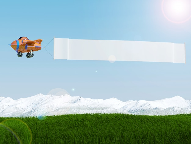 Cartoon airplane flying with advertising banner over grass field, 3d rendering Premium Photo