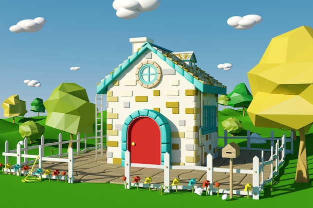 Cartoon house with countryside landscape in spring or summer