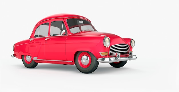 Cartoon red car isolated closeup Premium Photo