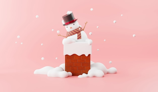 Cartoon of snowman on the chimney Premium Photo