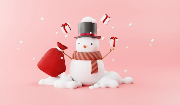 Cartoon of snowman and santa gift bag Premium Photo