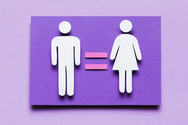 Cartoon woman and man with equality between them Free Photo
