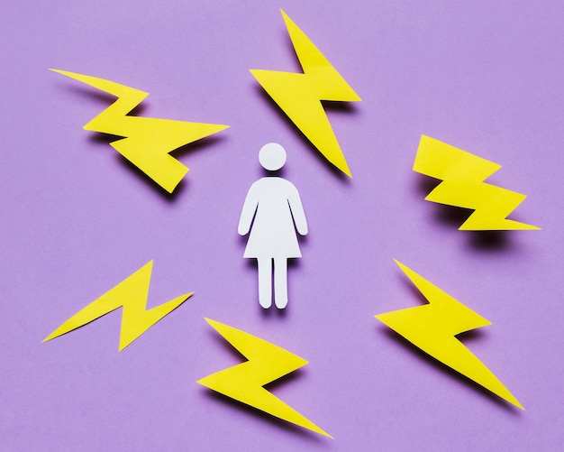 Cartoon woman surrounded by thunders Free Photo