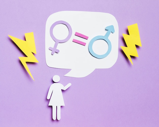 Cartoon woman thinking about gender equality Free Photo