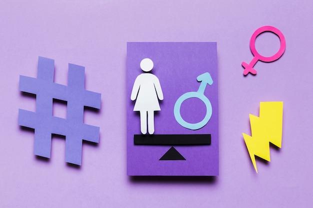 Cartoon woman with feminine sign and power thunder Free Photo