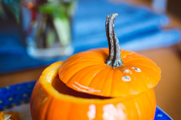Carving halloween pumpkin Free Photo
