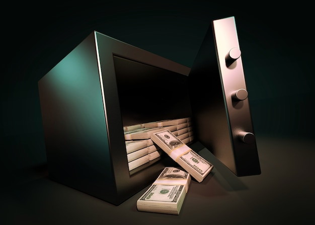 Cash money safe deposit 3d render Premium Photo