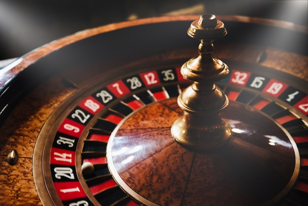 Casino roulette wheel. risky game. Premium Photo