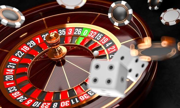 Casino roulette wheel with dice Premium Photo