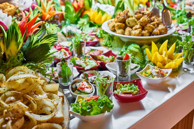 Catering buffet food in luxury restaurant Premium Photo